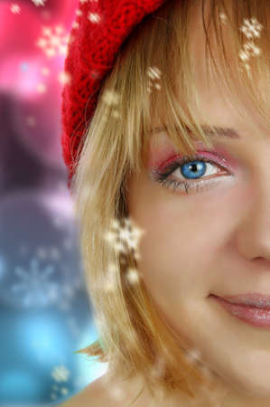 christmas girl over abstract colorful surface photo