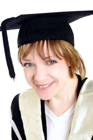 high school graduation: graduated girl with hat closeup Stock Photo