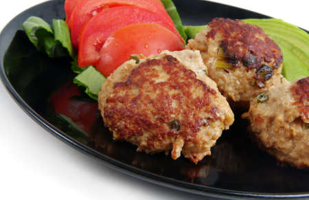 meat cutlets closeup on plate photo