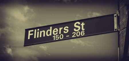 australia day: flinders street sign closeup in melbourne