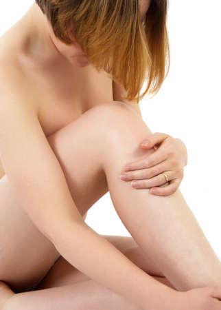 corps femme nue: corps de femme nue sur blanc Banque d'images