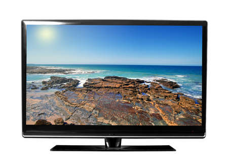 big tv screen with beautiful landscape