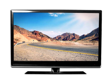 grote tv-scherm met landschap