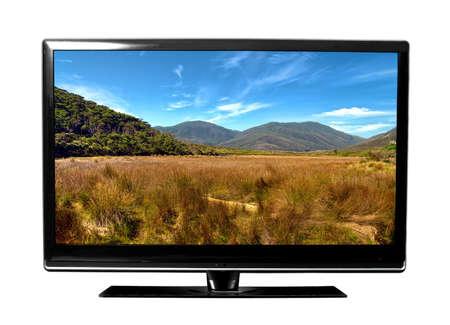 télé: grand écran de télévision avec le paysage