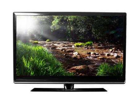 hdtv: big tv screen with landscape