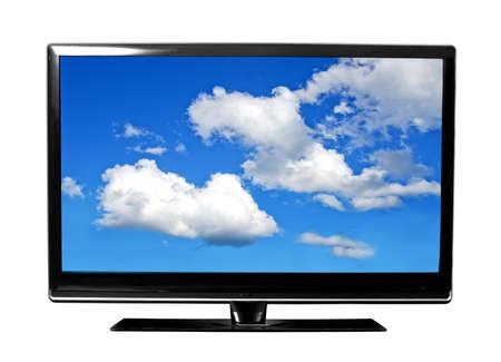 großen TV-Bildschirm mit Himmel Lizenzfreie Bilder