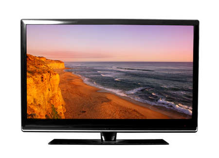 big tv screen with landscape photo