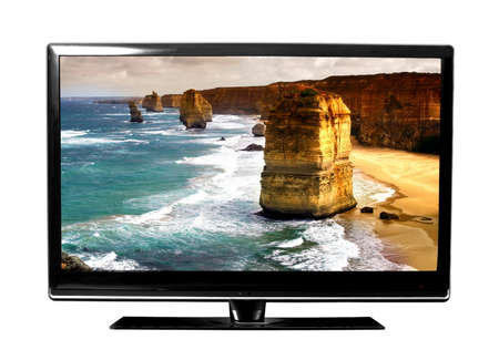 flat panel monitor: big tv screen with beautiful Australian landscape   Stock Photo