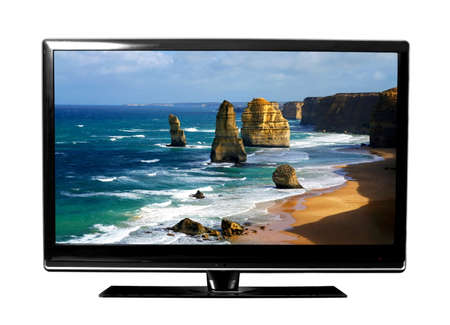 big tv screen with beautiful Australian landscape   photo