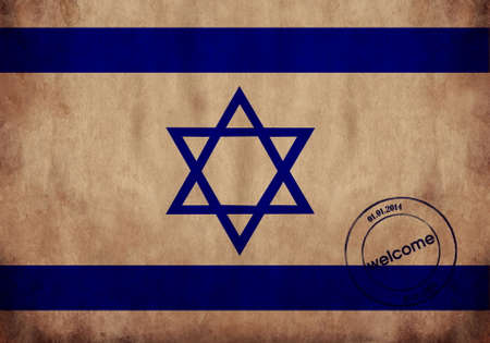 Israel textured flag with airport stamp photo