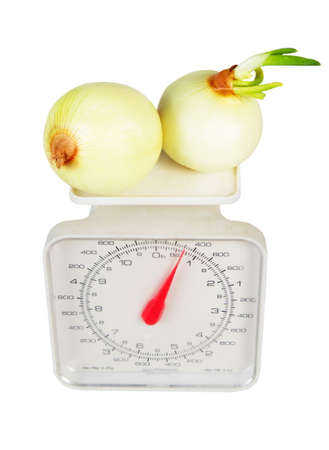 product weight with onion  isolated over white photo