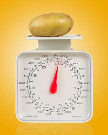 weight with potato over yellow photo