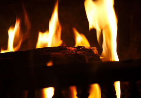 macro shot of fire place. photo