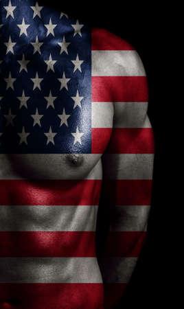 USA-Flagge auf den Körper gemalt