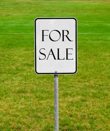 for sale sign on the green lawn photo