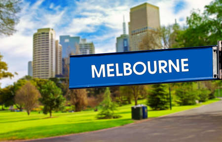 Melbourne city park and road sign in sunny day  photo