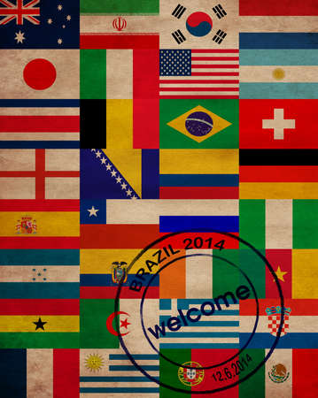 world cup: set of world flags in Brazil
