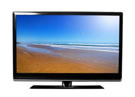big tv with beach Stock Photo