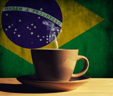 hot drink with Brazil flag Stockfoto