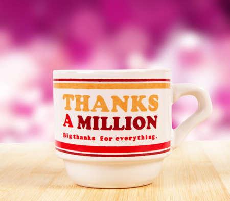 thanks a million mug over pink photo