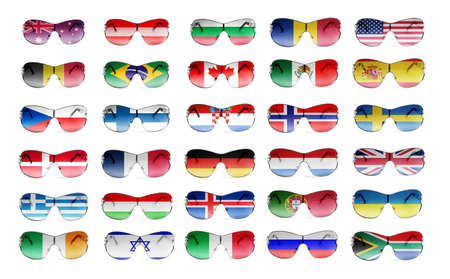 elegant sunglasses with country  flags photo