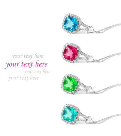 diamond necklace: colorful diamond necklaces over white