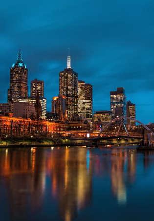 Melbourne Stadt bei Nacht Lizenzfreie Bilder