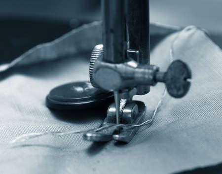 old vintage sewing maching closeup photo