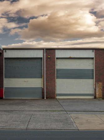 office bulilding garage doors closeup photo