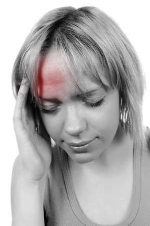 head ache: woman has a head ache