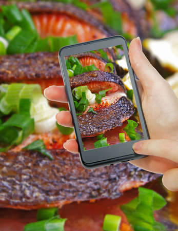 salmon dish and phone taking picture photo