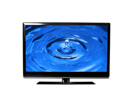 tv monitor over white surface with drops photo