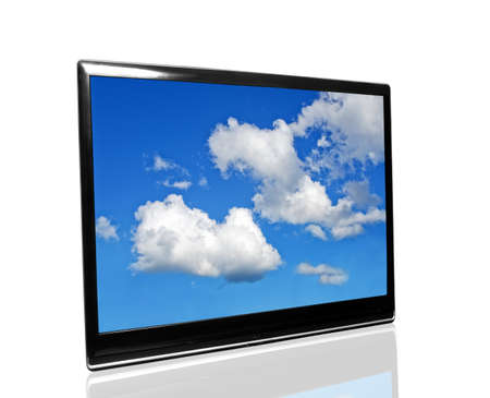 tv with blue sky on white photo