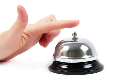 ring bell with the hand on white photo