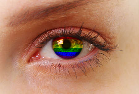 schöne augen: Zusammenfassung Auge mit homosexuellen Farben Lizenzfreie Bilder