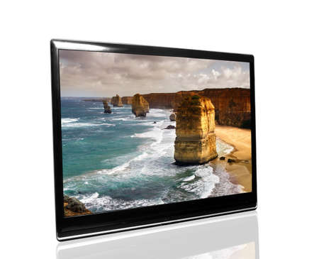 tv monitor over white surface with 12 apostles