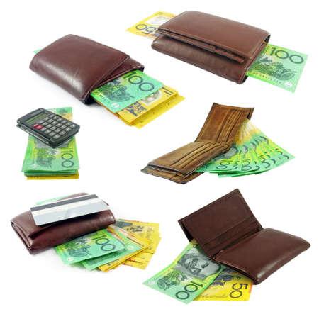 australian money: australian money in wallets Stock Photo