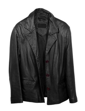 chaqueta de cuero: abrigo de piel en el blanco