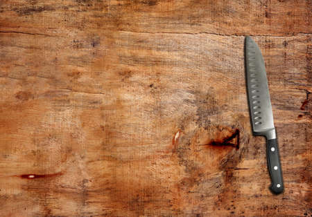 kitchen knife on the table,top view