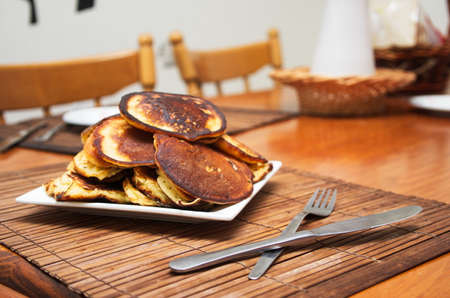 shallow: homemade pancakes on table,shallow DOF