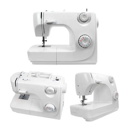 machines: sewing machines isolated on white