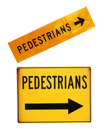 pedestrians: pedestrians road signs closeup on white Stock Photo