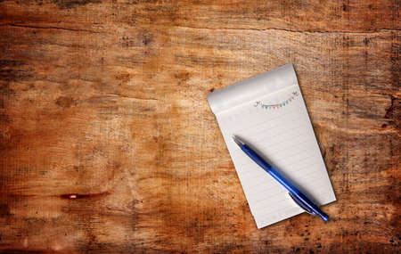 notepaper with pen,top view