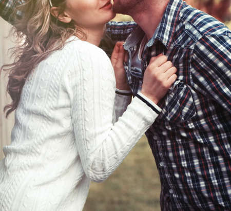vintage look: young couple outdoors,Vintage look