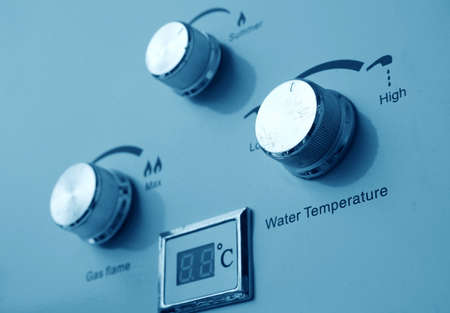 hot water: gas and water heater controls closeup