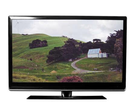 白の自然とテレビ 写真素材