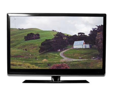 tv with the nature on white Standard-Bild
