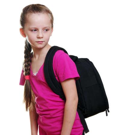 colegiala: Colegiala con el bolso en blanco Foto de archivo