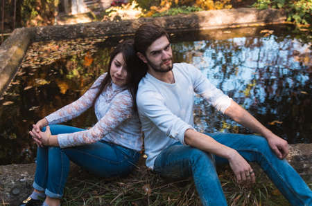 shallow: young couple in autumn park,shallow DOF