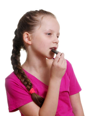 bisquit: pretty girl eating chocolate bisquit